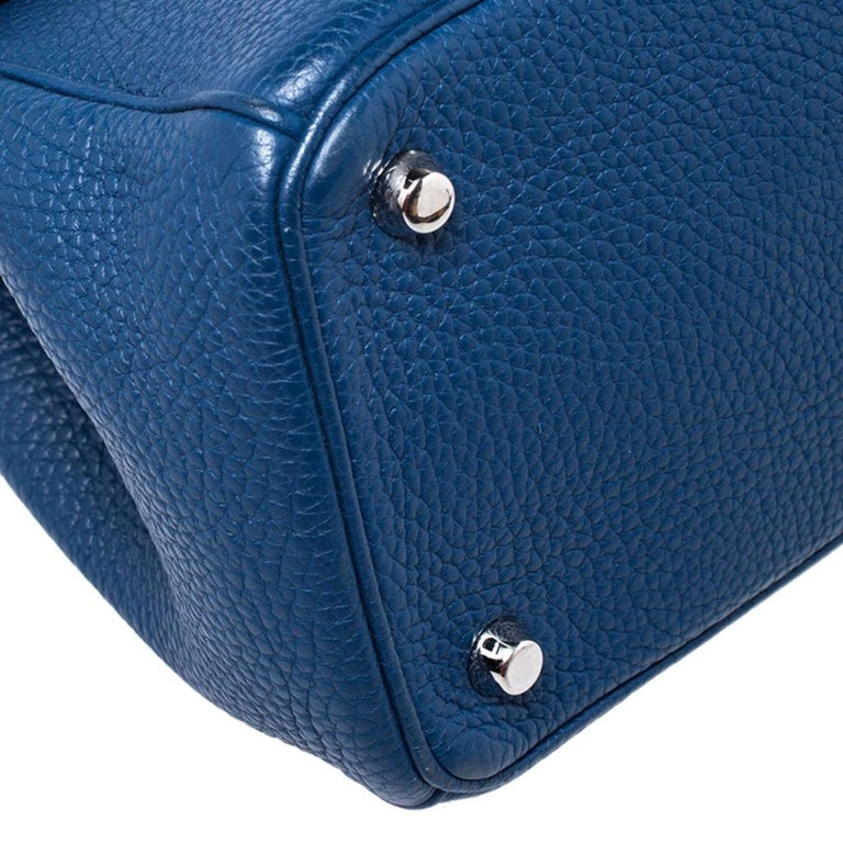 Dior Blue Leather Small Be Dior Flap Top Handle Bag For Sale 4