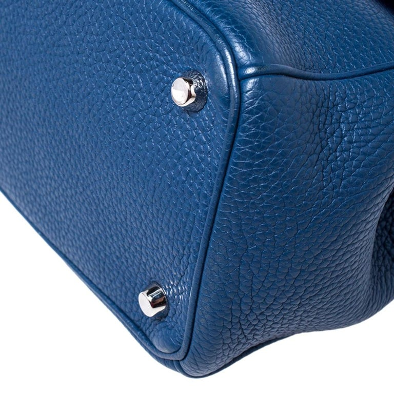 Dior Blue Leather Small Be Dior Flap Top Handle Bag For Sale 5