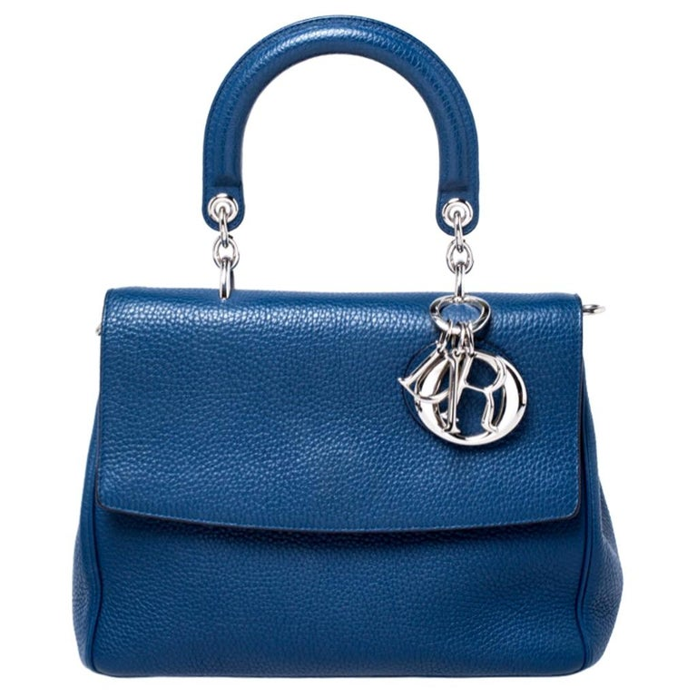 Dior Blue Leather Small Be Dior Flap Top Handle Bag For Sale