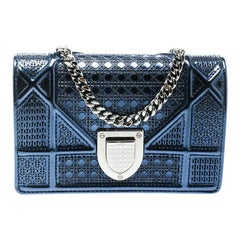 Dior Blue Micro Cannage Patent Leather Baby Diorama Shoulder Bag