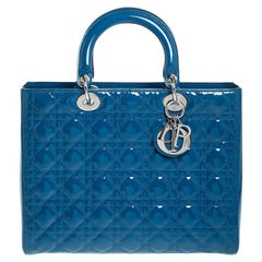 Dior Blue Patent Leather Large Lady Dior Tote