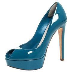 Dior Blue Patent Leather Miss Dior Peep Toe Platform Pumps Size 36