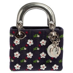 Dior Blue/Silver Cannage Denim and Leather Mini Embellished Lady Dior Tote