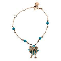 Dior Blue Stone Crystal Antique Gold Tone Bracelet