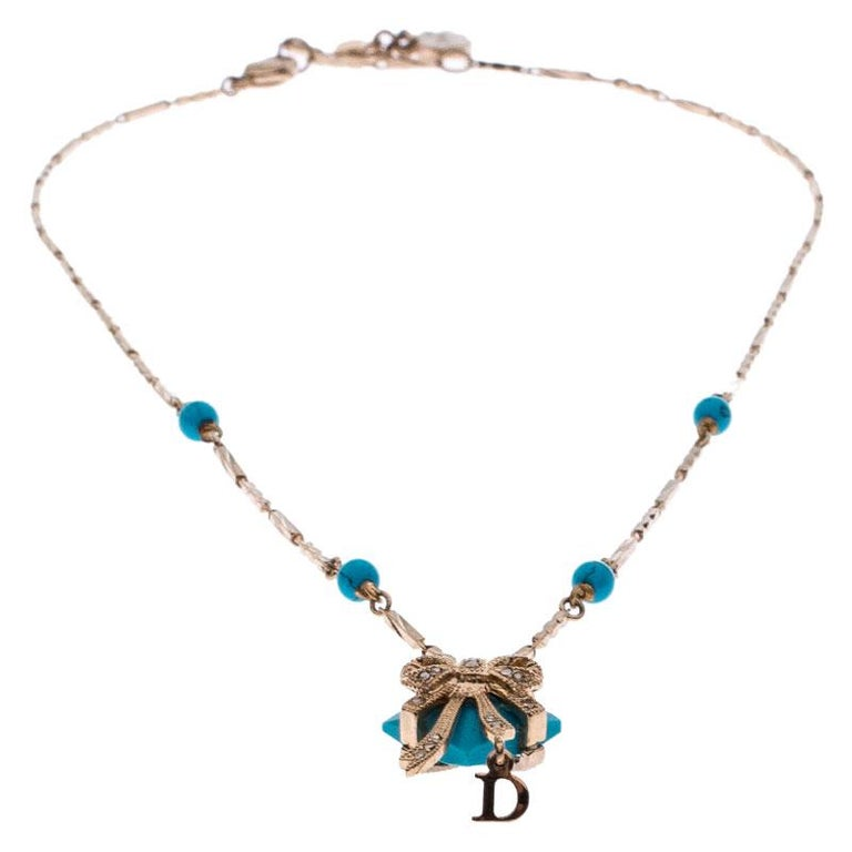 Contemporary Dior Blue Stone Crystal Antique Gold Tone Necklace For Sale