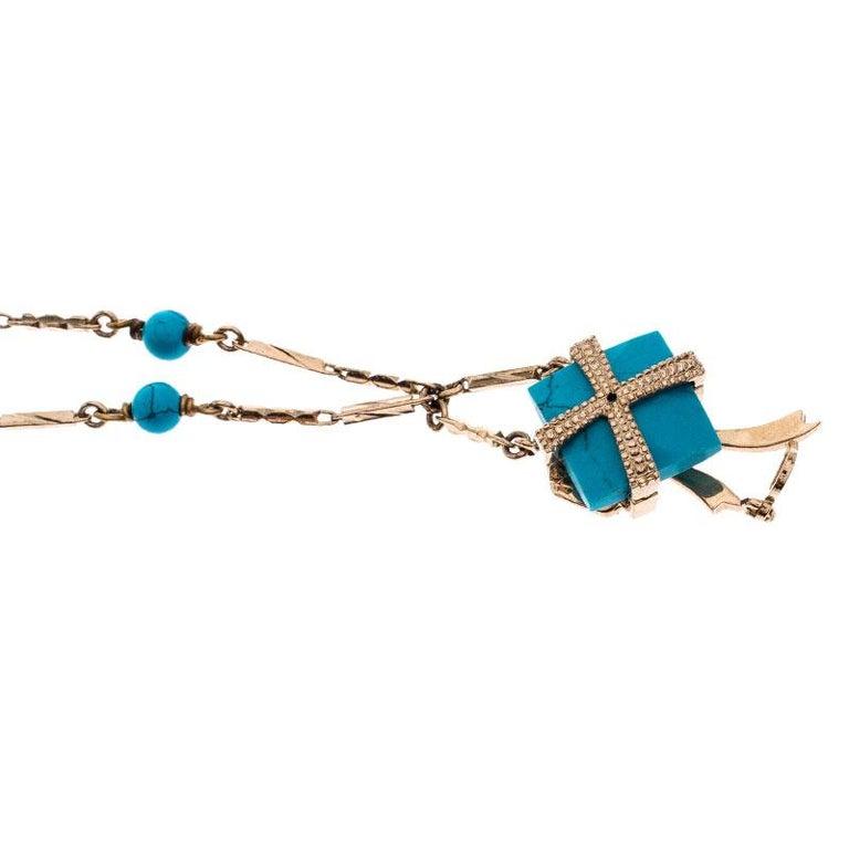 Dior Blue Stone Crystal Antique Gold Tone Necklace In Good Condition For Sale In Dubai, Al Qouz 2