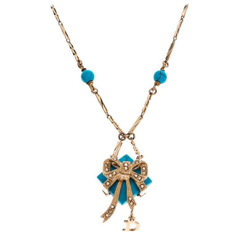 Dior Blue Stone Crystal Antique Gold Tone Necklace For Sale