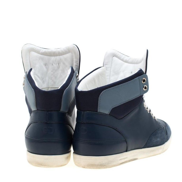 Black Dior Blue/White Leather High Top Sneaker Size 41 For Sale