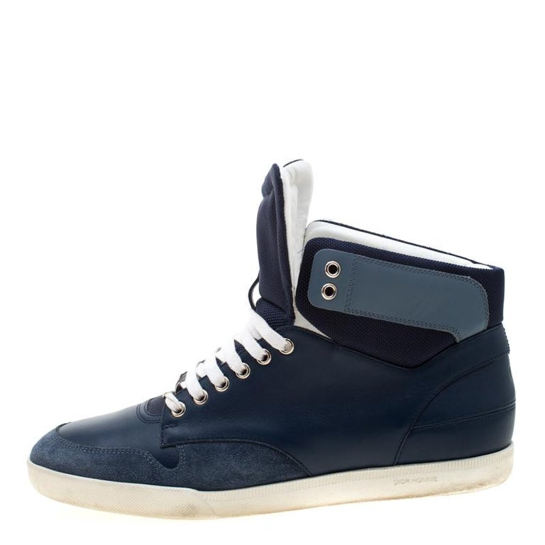 Men's Dior Blue/White Leather High Top Sneaker Size 41 For Sale