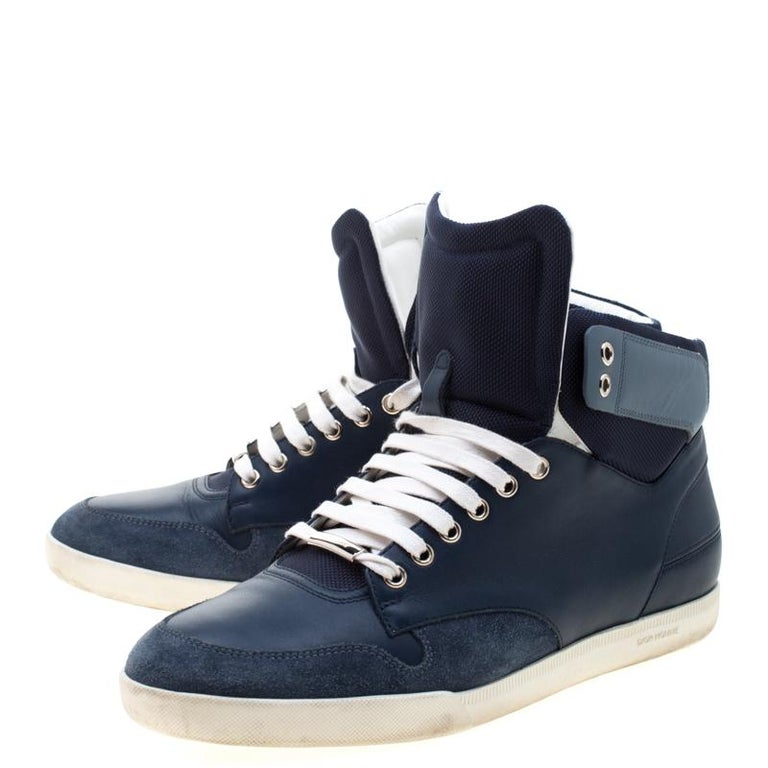 Dior Blue/White Leather High Top Sneaker Size 41 For Sale 2