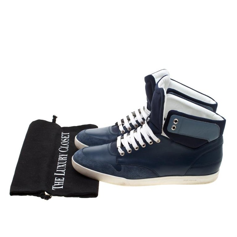 Dior Blue/White Leather High Top Sneaker Size 41 For Sale 3