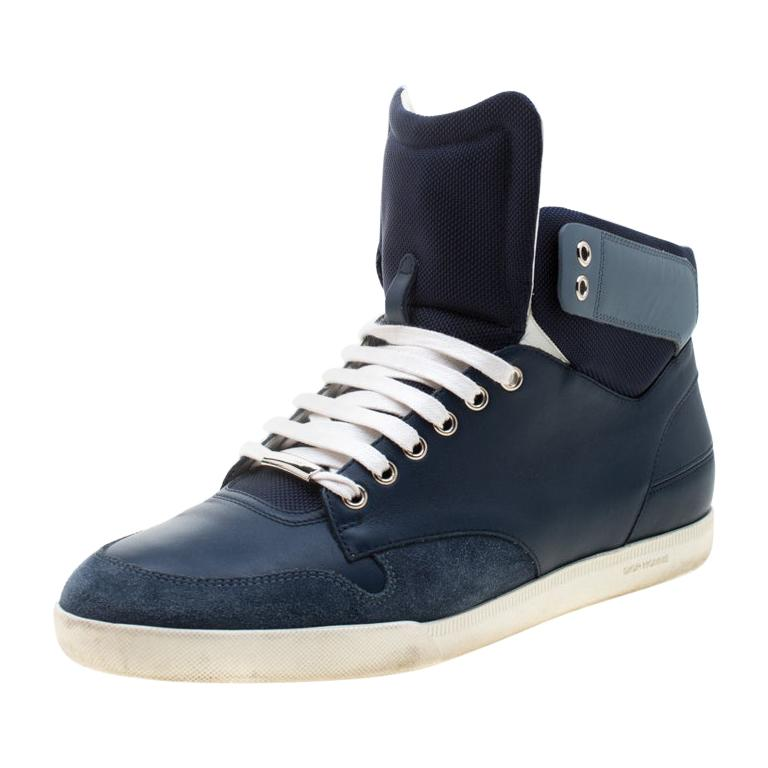 Dior Blue/White Leather High Top Sneaker Size 41 For Sale