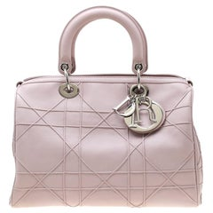 Dior Blush Pink Cannage Leather Granville Polochon Satchel