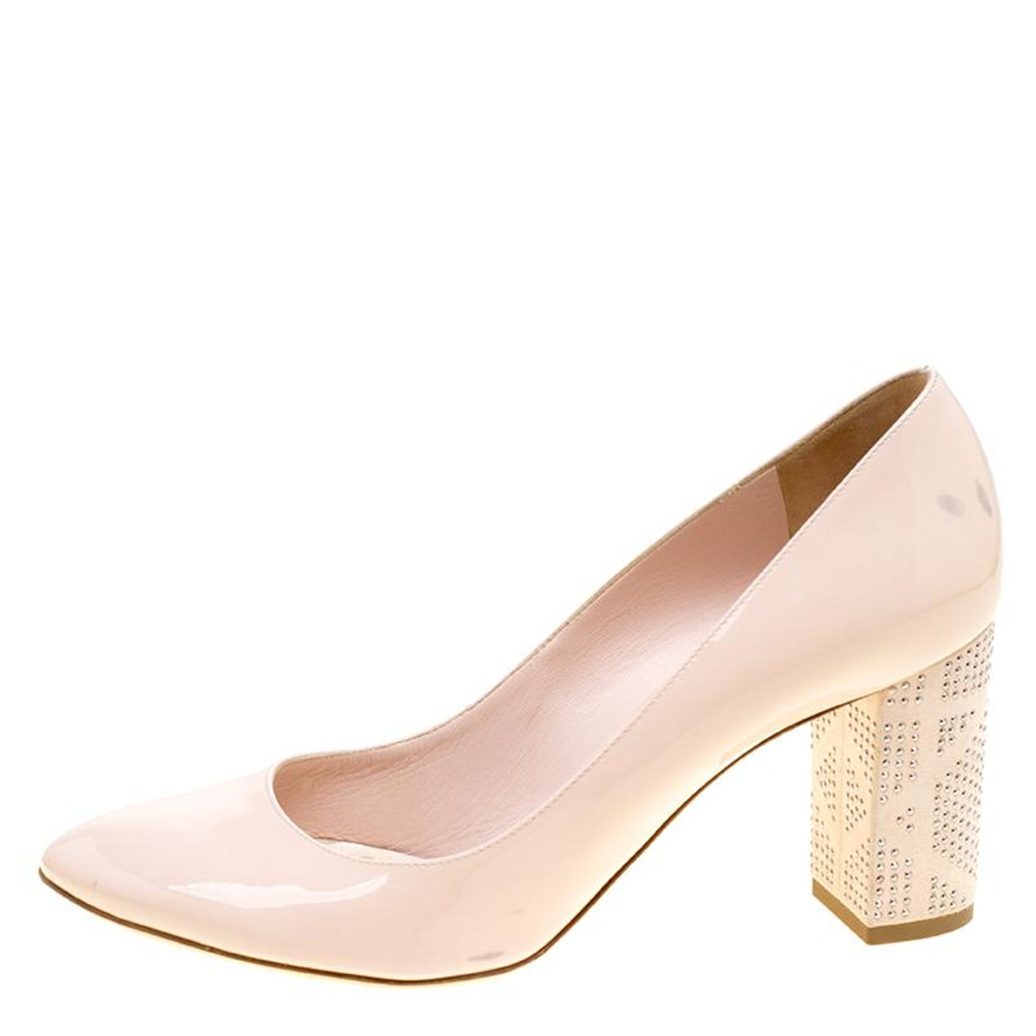 614990393db Dior Blush Pink Patent Leather and Suede Block Heel Pumps Size 39.5 For Sale  at 1stdibs