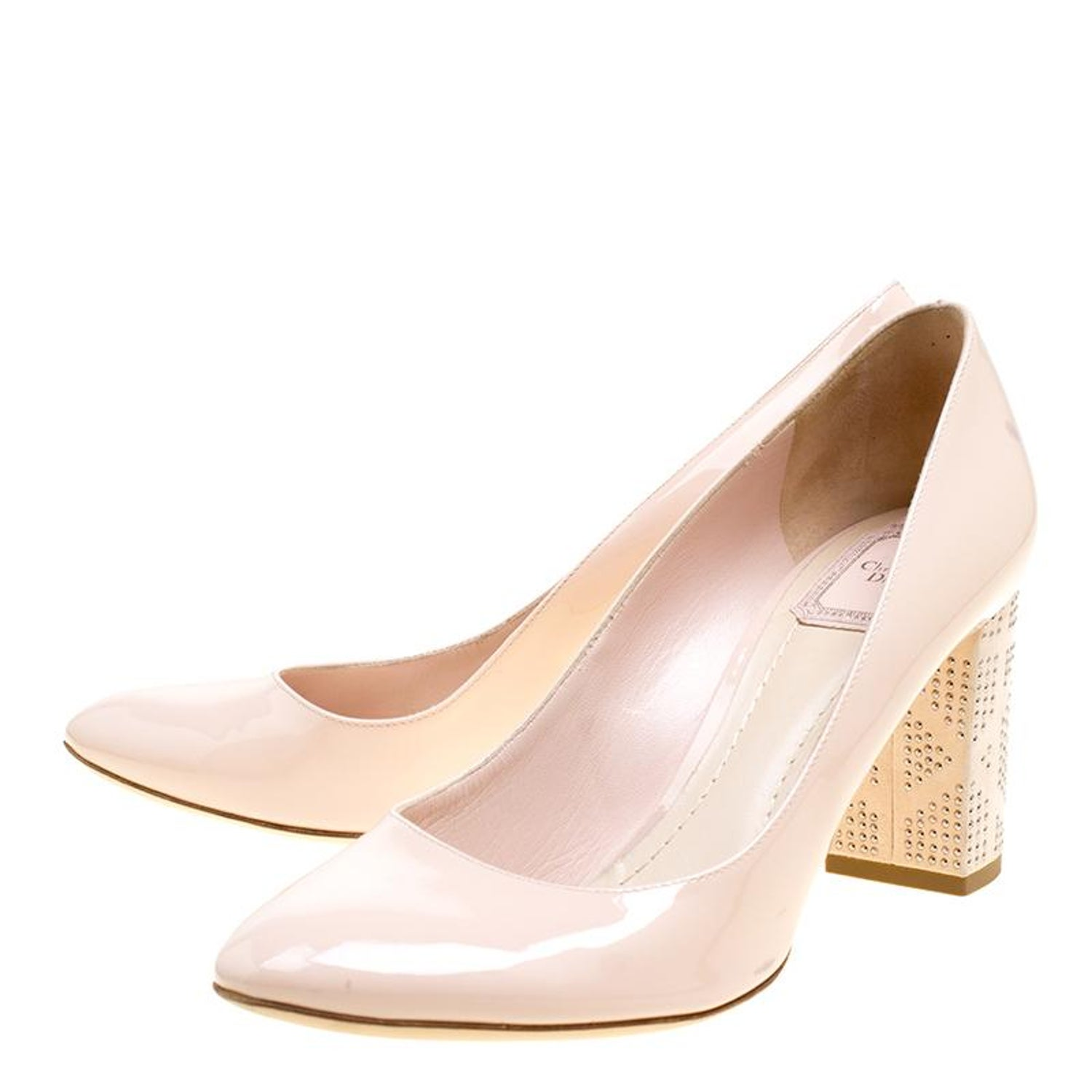 e4a4caa19cf Dior Blush Pink Patent Leather and Suede Block Heel Pumps Size 39.5 For  Sale at 1stdibs