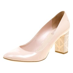 Dior Blush Pink Patent Leather and Suede Block Heel Pumps Size 39.5