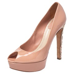 Dior Blush Pink Patent Leather Peep Toe Cannage Heel Platform Pumps Size 38