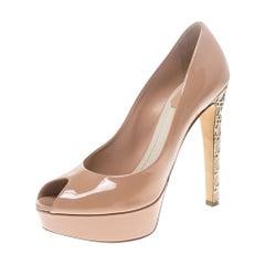 Dior Blush Pink Patent Leather Peep Toe Cannage Heel Platform Pumps Size 38.5