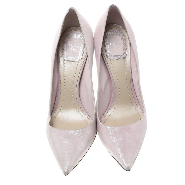174942f2bb Dior Blush Pink Shimmering Suede Pointed Toe Pumps Size 38.5 For Sale.  Raise the style bar wherever you go with this pair of Dior pumps. Made of