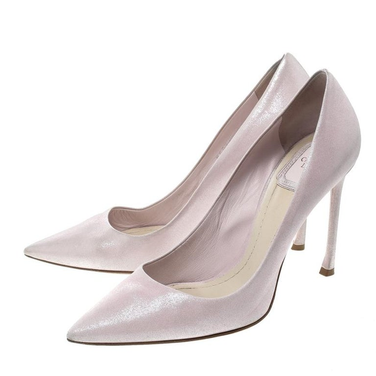 faa450c901 Dior Blush Pink Shimmering Suede Pointed Toe Pumps Size 38.5 For Sale 1