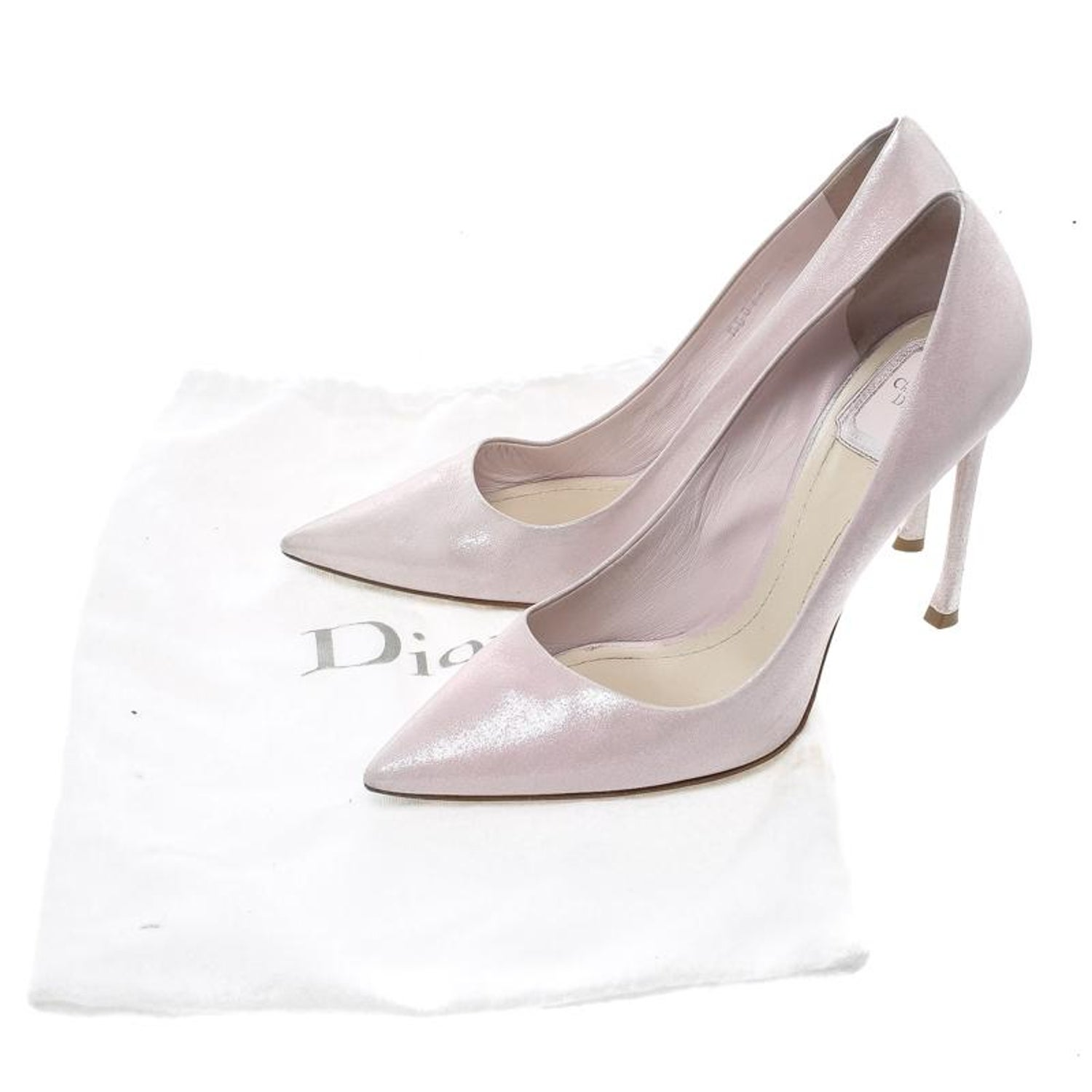 0cfaea6f1 Dior Blush Pink Shimmering Suede Pointed Toe Pumps Size 38.5 at 1stdibs
