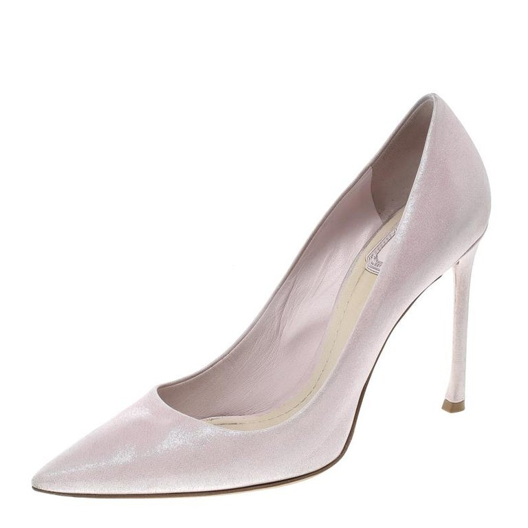 fb664de580b Dior Blush Pink Shimmering Suede Pointed Toe Pumps Size 38.5 For Sale