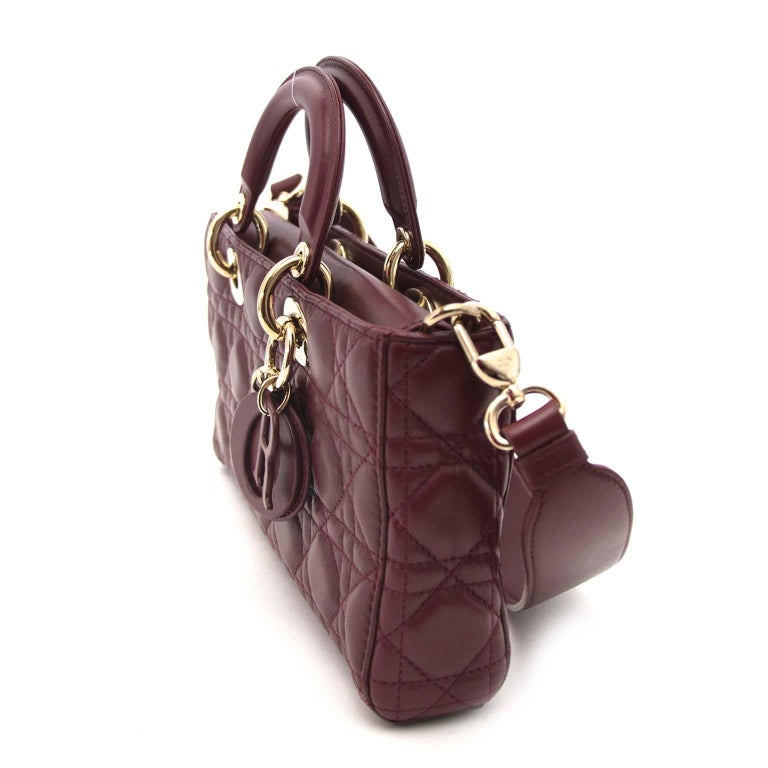 Black Dior Bordeaux Lambskin Runway Bag For Sale