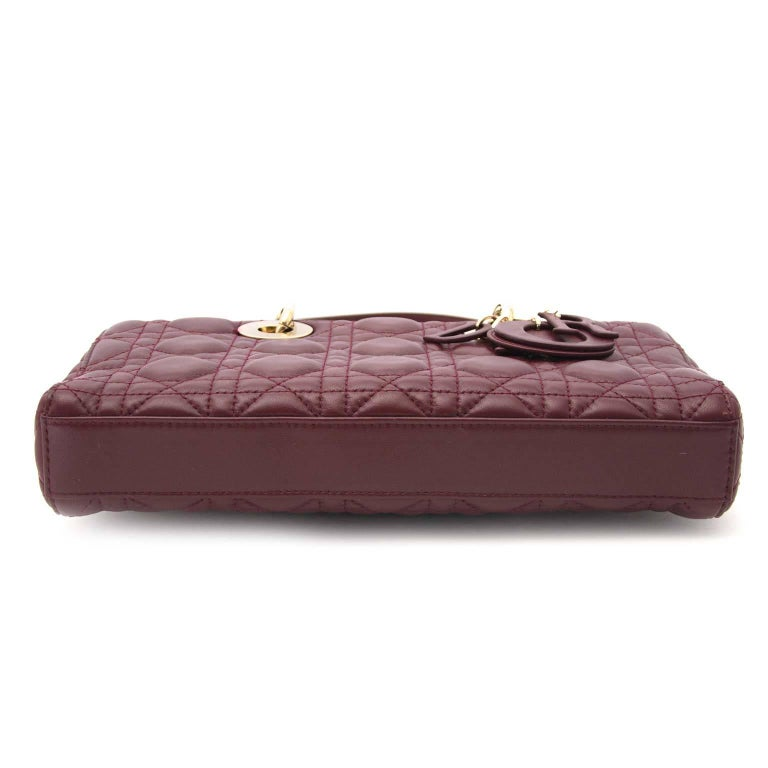 Dior Bordeaux Lambskin Runway Bag In Excellent Condition For Sale In Antwerp, BE
