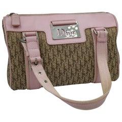 Dior boston handbag in monogram canvas and pink finishes