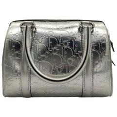 DIOR Boston Handbag in Silver Leather