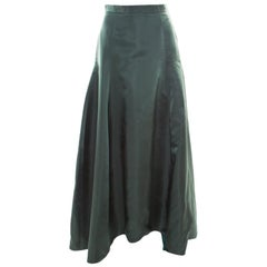 Dior Bottle Green Silk Satin Flared High Waist Maxi Skirt S