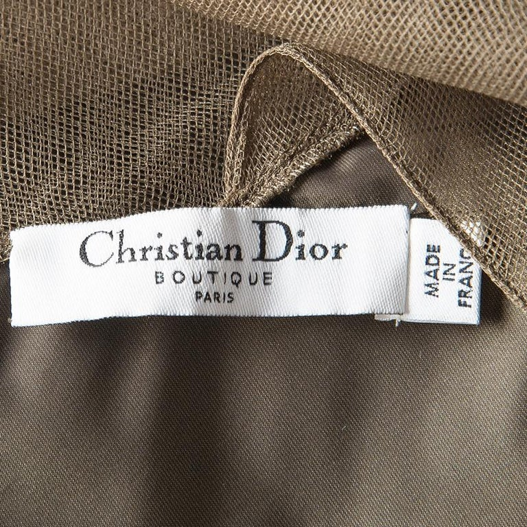 Dior Boutique Brown Pleated Ruffle Detail Sleeveless Tiered Evening Gown S For Sale 2