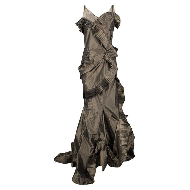 Dior Boutique Brown Pleated Ruffle Detail Sleeveless Tiered Evening Gown S For Sale