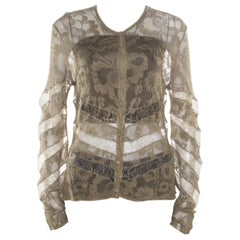 Dior Boutique Lace Olive Green Perforated Knit Lace Insert Buttoned Cardigan L