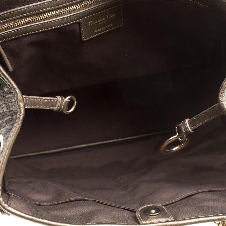Dior Bronze Coated Canvas Medium Panarea Shopper Tote For Sale 6