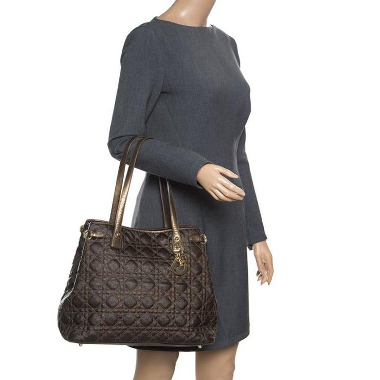 Dior Bronze Coated Canvas Medium Panarea Shopper Tote For Sale 1