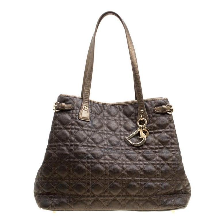 3b686feae10eb Dior Bronze beschichtete Canvas Medium Panarea Shopping-Tasche im ...