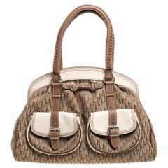 Dior Brown/Beige Oblique Canvas and Leather My Dior Pocket Frame Satchel