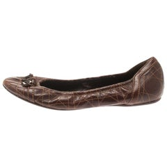 Dior Brown Cannage Leather Bow Detail Ballet Flats Size 39