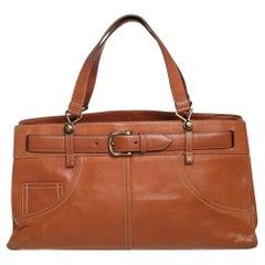 Dior Brown Leather Belted Pants Shoulder Bag