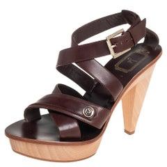 Dior Brown Leather Criss Cross Platform Ankle Strap Sandals Size 38