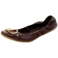 Dior Brown Leather Logo Scrunch Ballet Flats Size 35