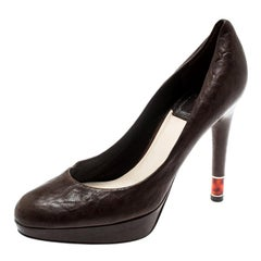 Dior Brown Leather Platform Pumps Size 36