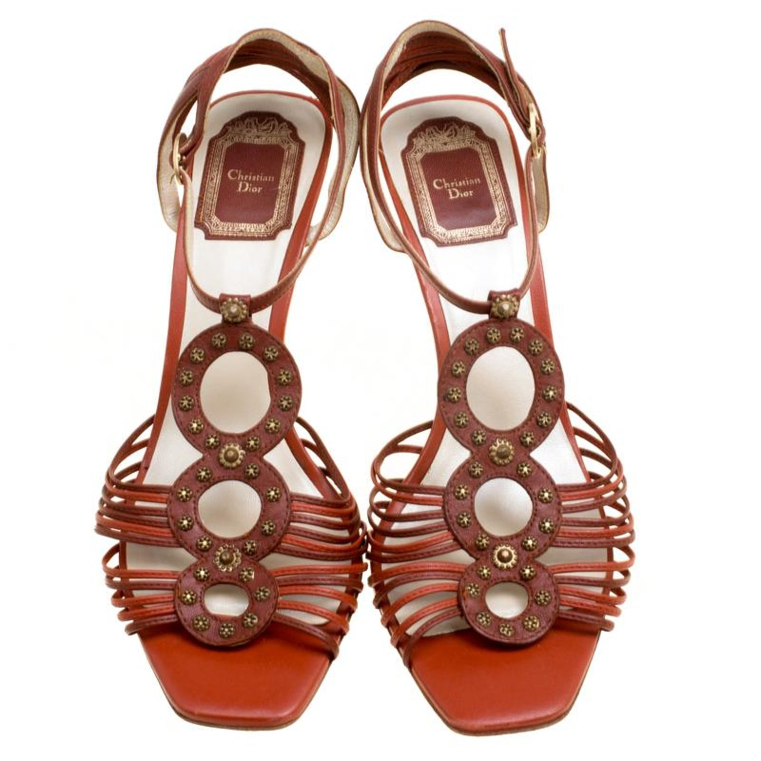 e395b411b41 Dior Brown Leather Studded Ankle Strap Sandals Size 39 For Sale at 1stdibs