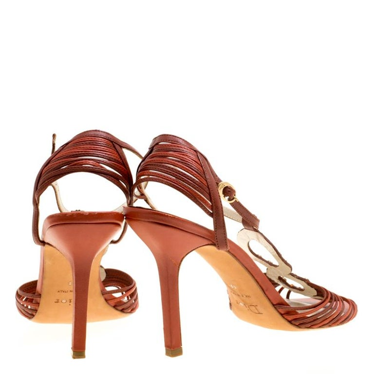 f36924a7c05 Dior Brown Leather Studded Ankle Strap Sandals Size 39 In Good Condition  For Sale In Dubai