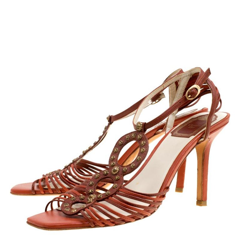 7f68a54c164 Dior Brown Leather Studded Ankle Strap Sandals Size 39 For Sale at ...