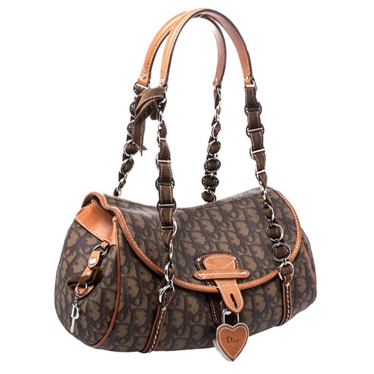 Women's Dior Brown Monogram Coated Canvas and Leather Romantique Trotter Flap Bag