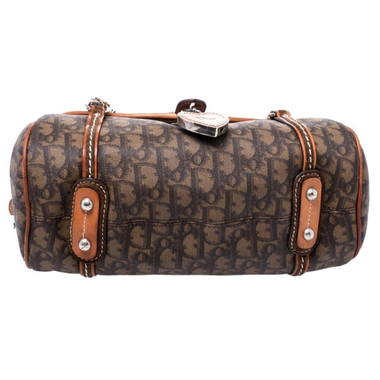 Dior Brown Monogram Coated Canvas and Leather Romantique Trotter Flap Bag 1