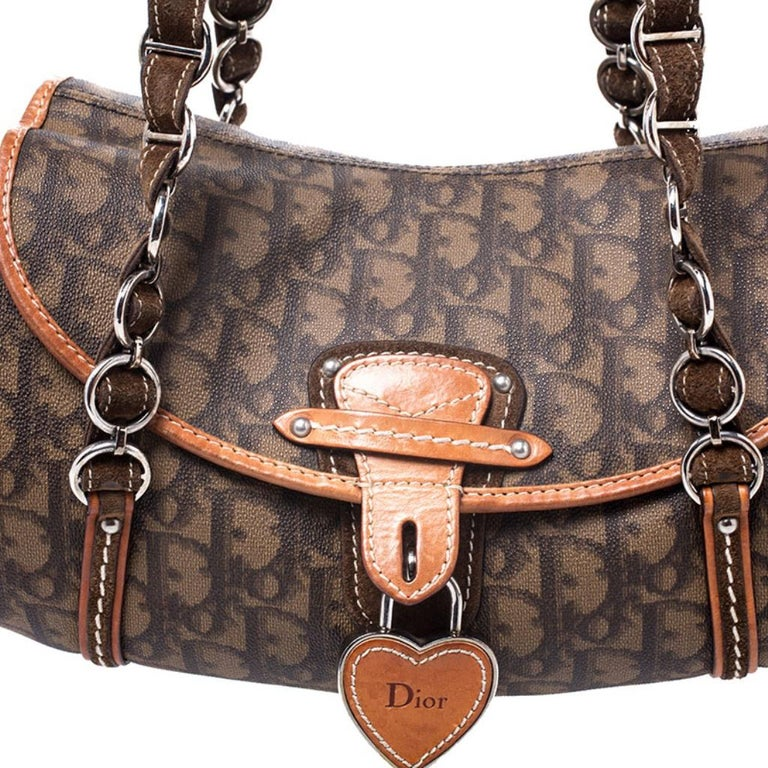 Dior Brown Monogram Coated Canvas and Leather Romantique Trotter Flap Bag 3