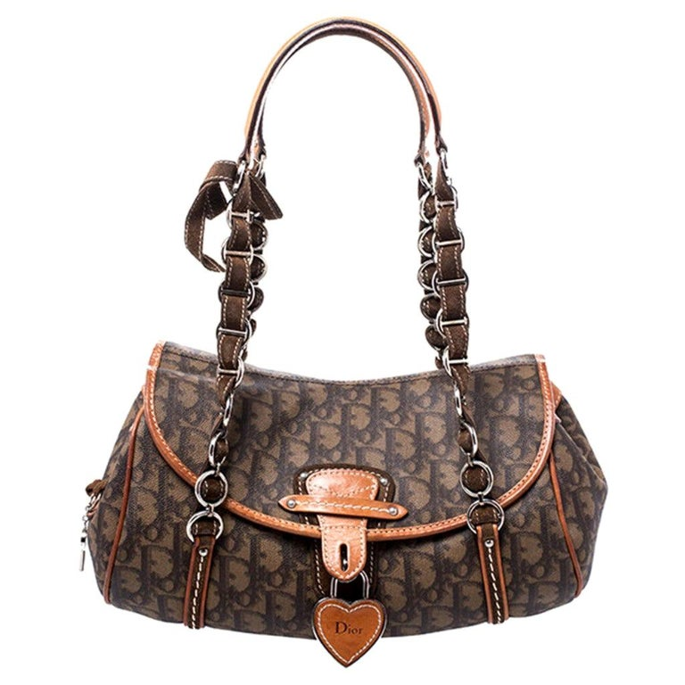 Dior Brown Monogram Coated Canvas and Leather Romantique Trotter Flap Bag